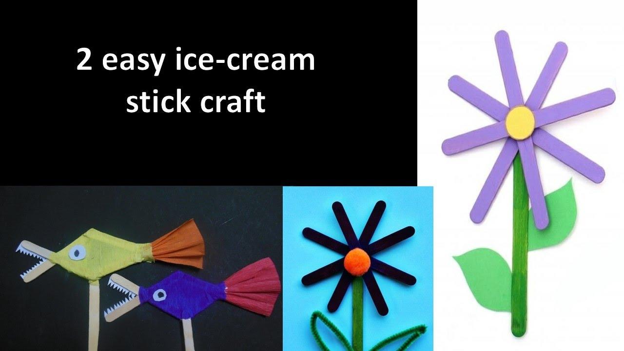 2 Simple Ice Cream Stick Craft Youtube