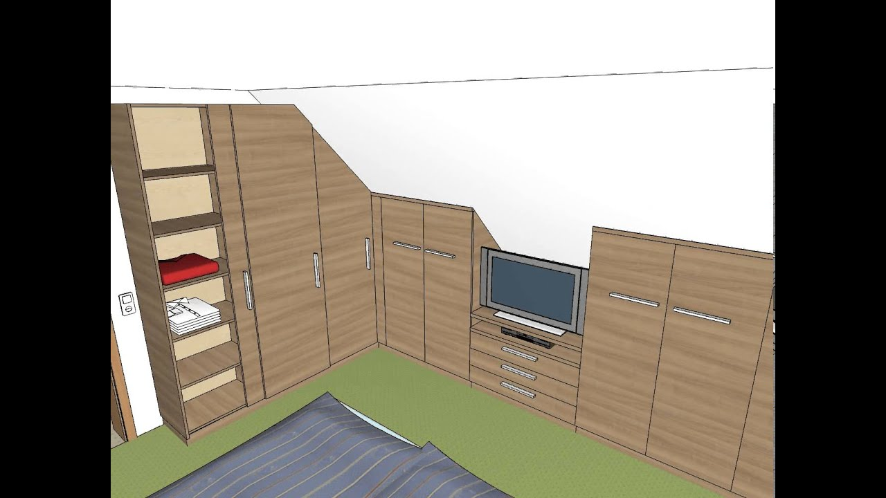 schlafzimmer einbauschrank dachschräge tv youtube
