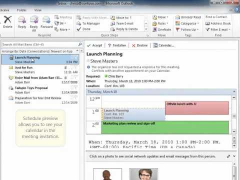 Outlook 2010 Calendar Preview YouTube
