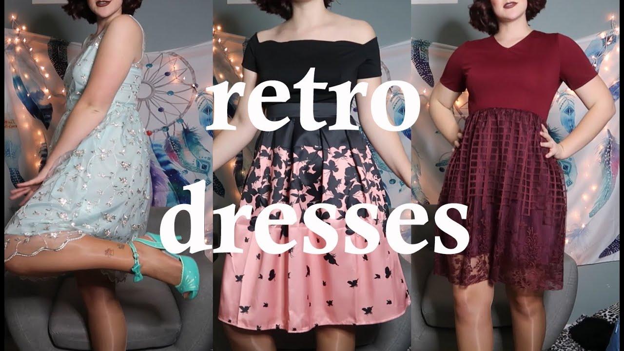 Trying on retro dresses| Retro Stage - YouTube
