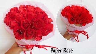 ไอเดียทำช่อดอกกุหลาบกระดาษ วันวาเลนไทน์ | Handmade Valentine Day DIY Paper Rose