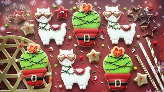 How to decorate CUTE CHRISTMAS LLAMA & FESTIVE CACTUS Cookies