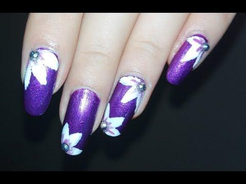 DIY Flowers on Metallic Purple Background (NO TOOLS)  | Rose Pearl