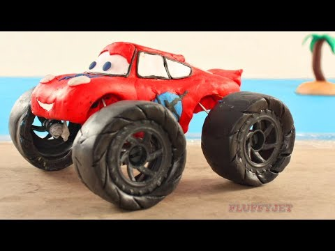 Lightning McQueen Monster Truck Plays in Sand - Play Doh Stop Motion - Video For Kids