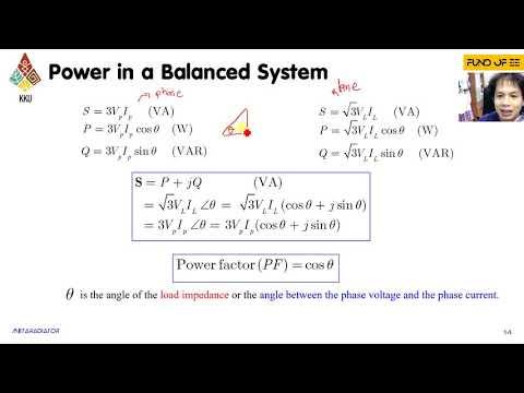 CH 6 วงจรไฟฟ้ากระแสสลับ 3 เฟส -สรุปและตัวอย่างกำลังงานระบบไฟฟ้า 3 เฟสแบบสมดุล[16/xx]