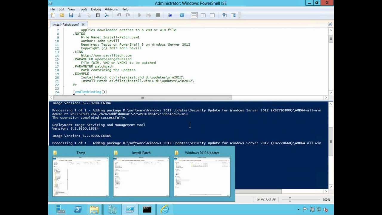 Easily install patches to a VHD or WIM file using this custom PowerShell  script