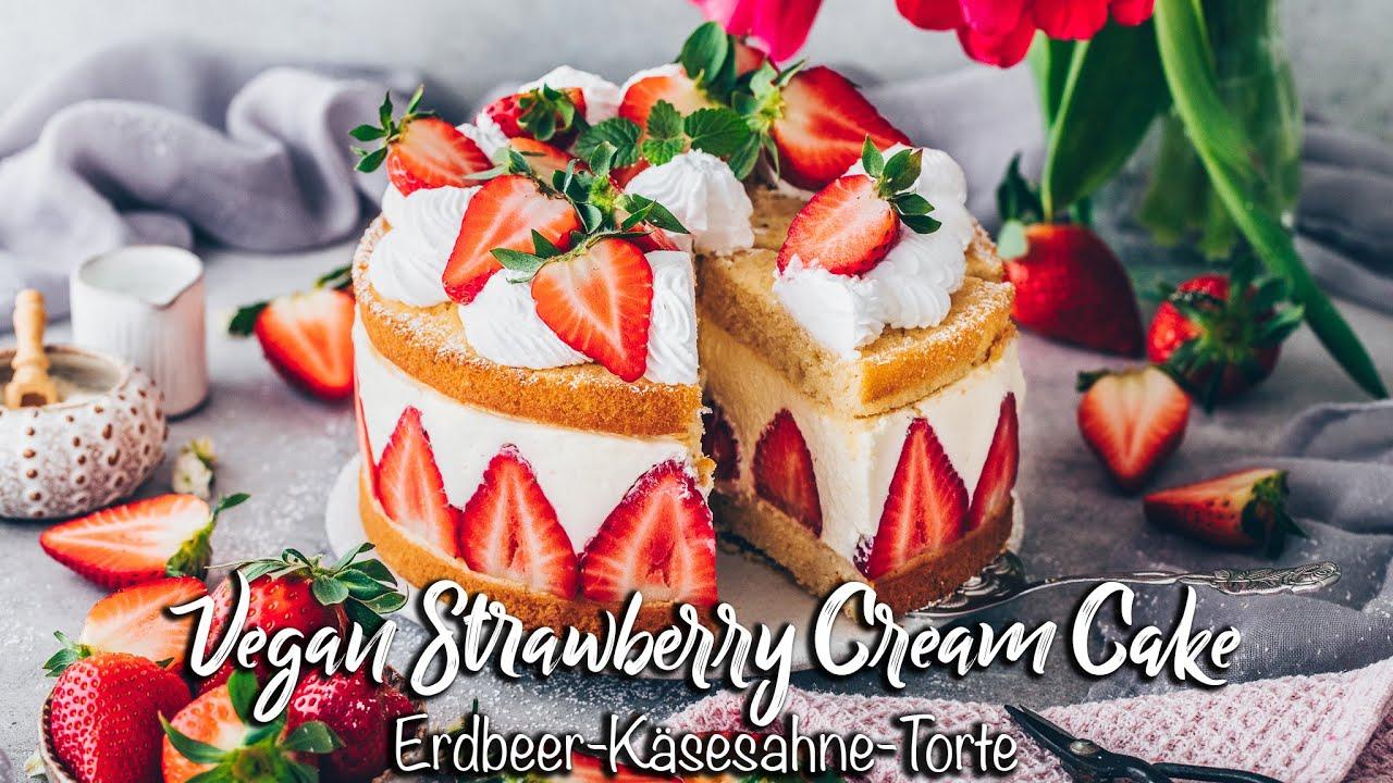 Vegane Erdbeer-Käsesahne-Torte ♡ Einfach und so lecker wie das Original! ♡