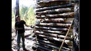 построили шалаш из досок(Ни одно живое дерево не пострадало, использовали только сухие. Материалы - все, что удалось найти на краю..., 2015-09-27T16:11:40.000Z)