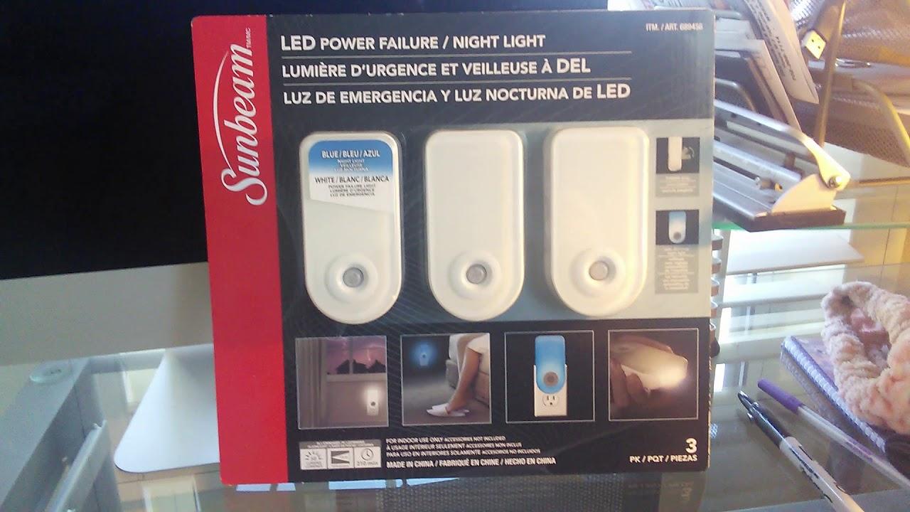 8576f38617b SUNBEAM LED POWER FAILURE NIGHTLIGHT FLASHLIGHT DOUBLE 3 PACK UNBOXING