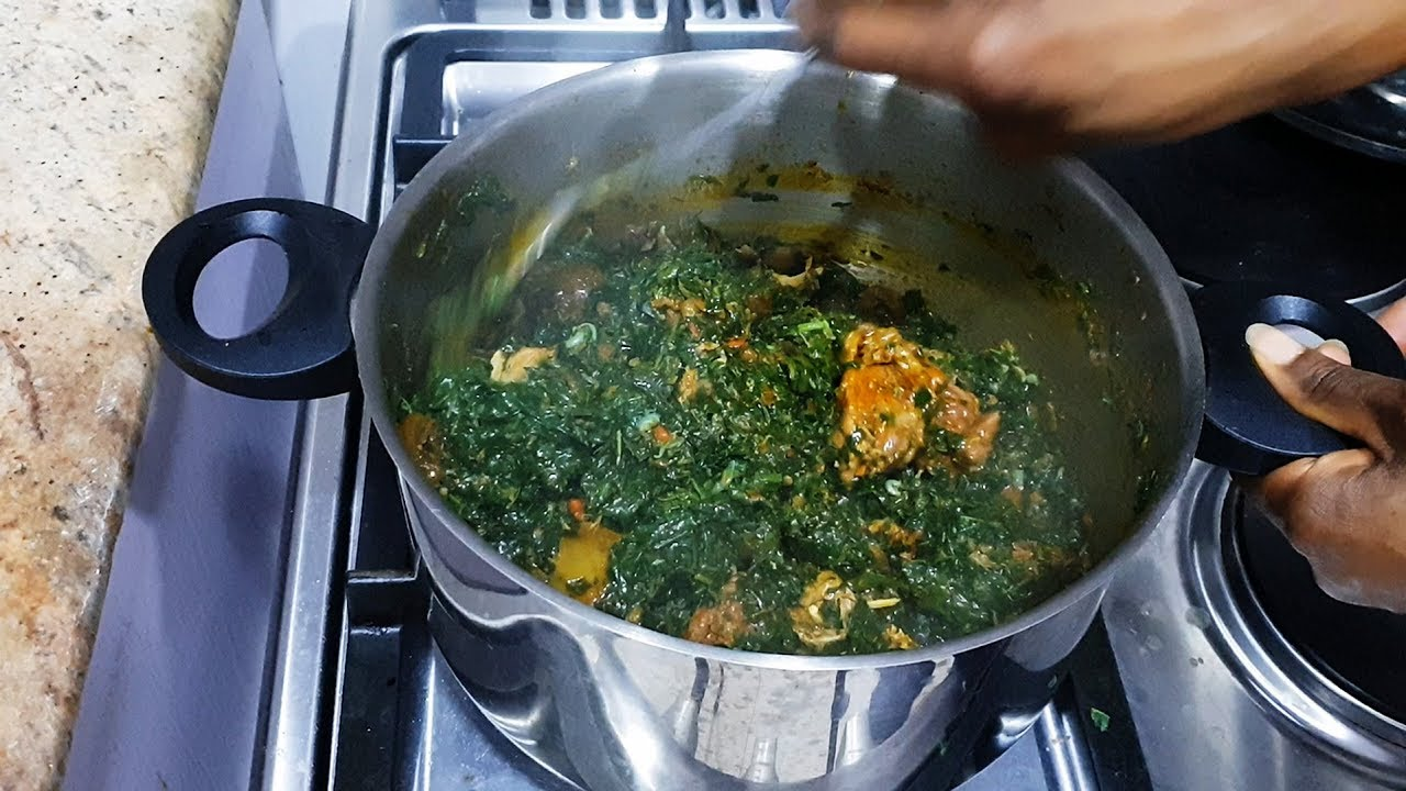 Vegetable Soup with Ugu and Water Leaves Edikang Ikong Soup Recipe  Flo  Chinyere