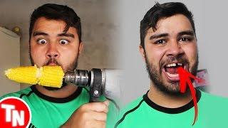 Youtuber Pokey quebra o dente ao fazer desafio do Milho na Furadeira