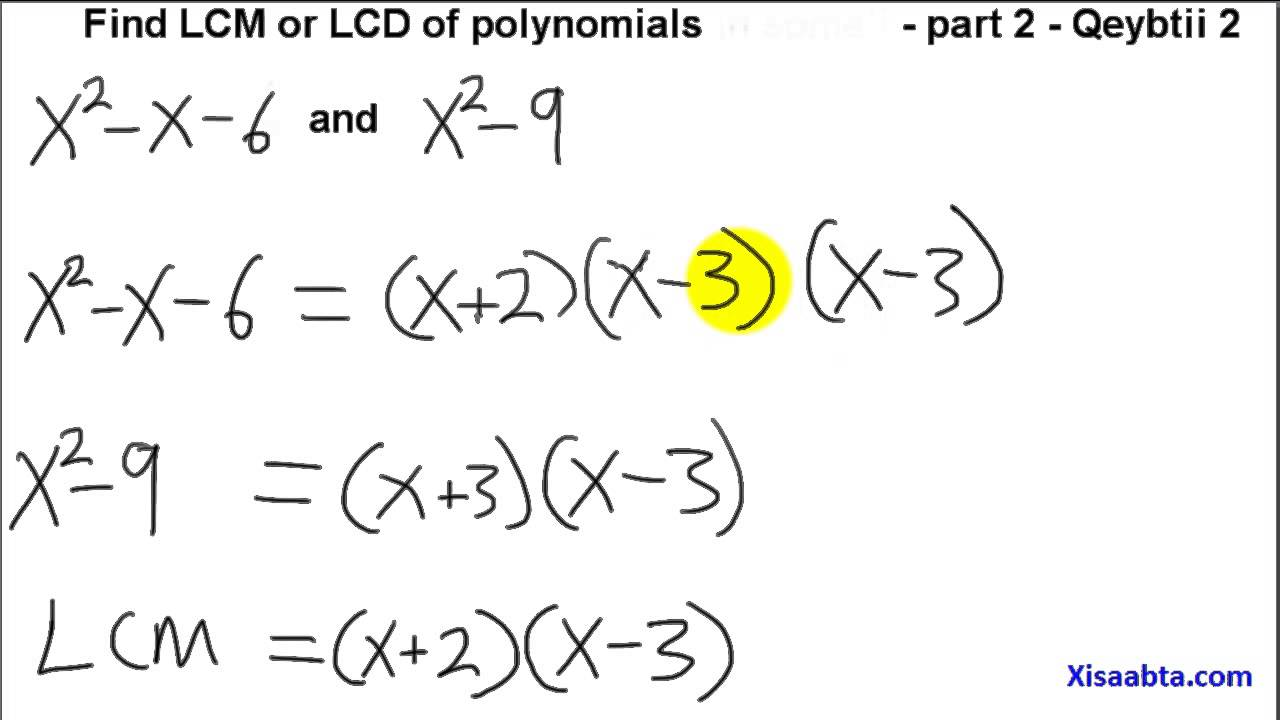 find lcm or lcd of polynomials in somali part 2 Qeybtii 2