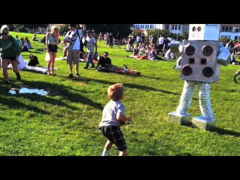 Break Dancers with Kid & Music Robot in Dolores Park