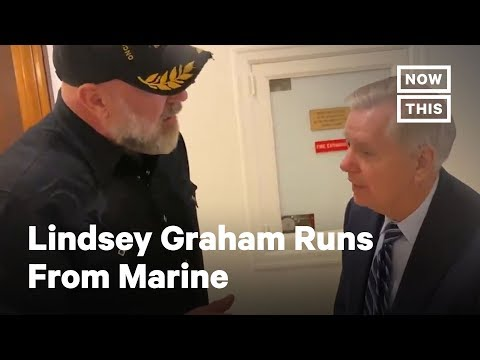Lindsey Graham Runs From Marine Asking About the Constitution | NowThis