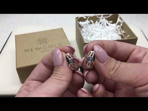 Серьги 094524 из красного золота 585 пробы с сапфирами и бриллиантами