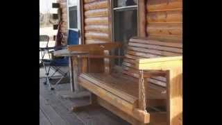 Log Cabin on Meramec River at Meramec Farm in Missouri Ozarks.