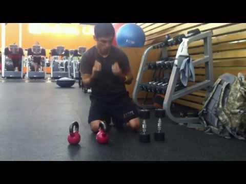 831 Deaf Fitness Video: Kettle bell and dumb bell push ups challenge.