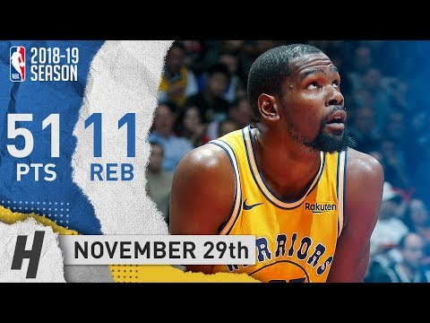 Kevin Durant Full Highlights Warriors vs Raptors 2018.11.29 - 51 Points, 11 Reb