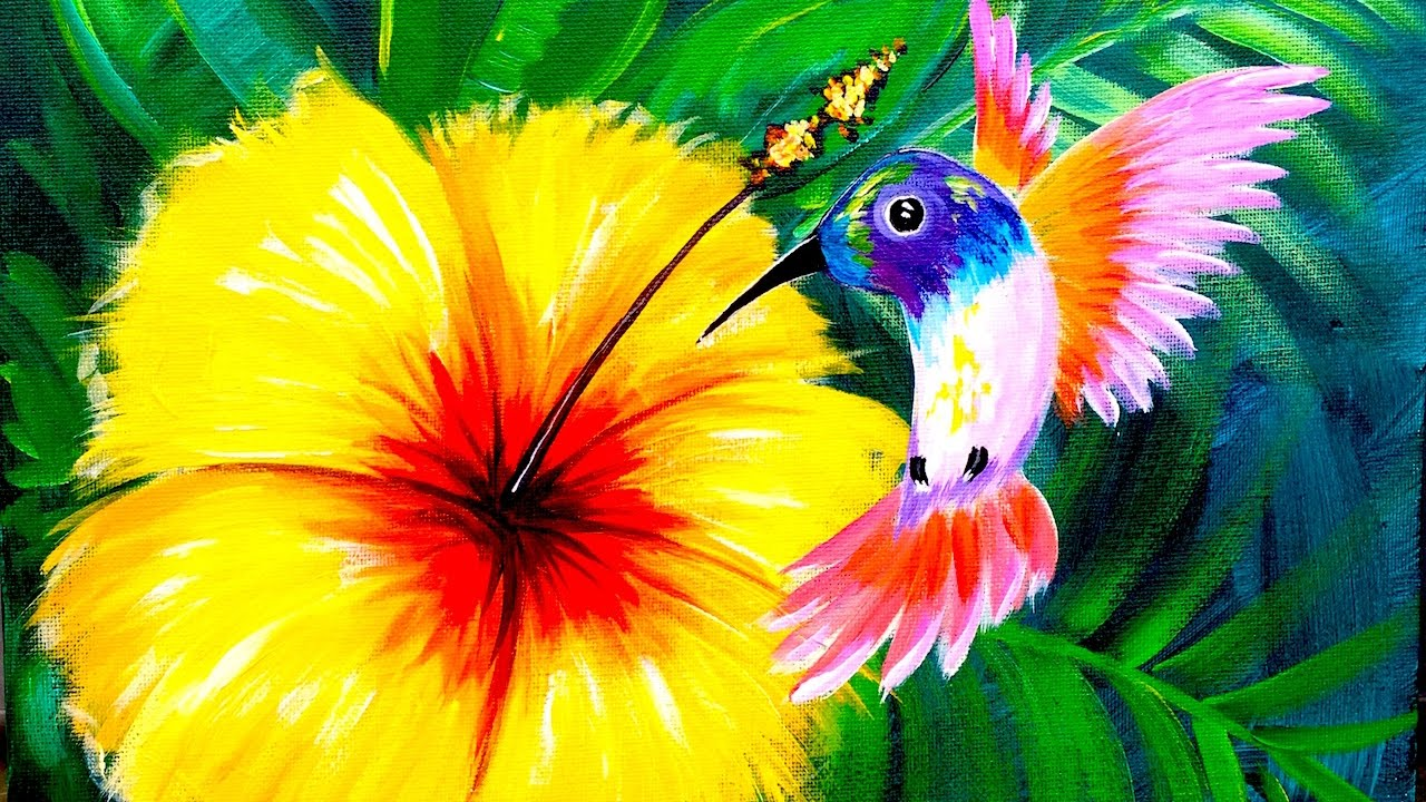 Hummingbird and hibiscus flower learn to paint for beginners hummingbird and hibiscus flower learn to paint for beginners angelooney izmirmasajfo
