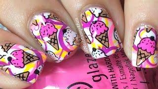 Ice Cream Nails: Nail Stamping Using Cheeky Jumbo Plates