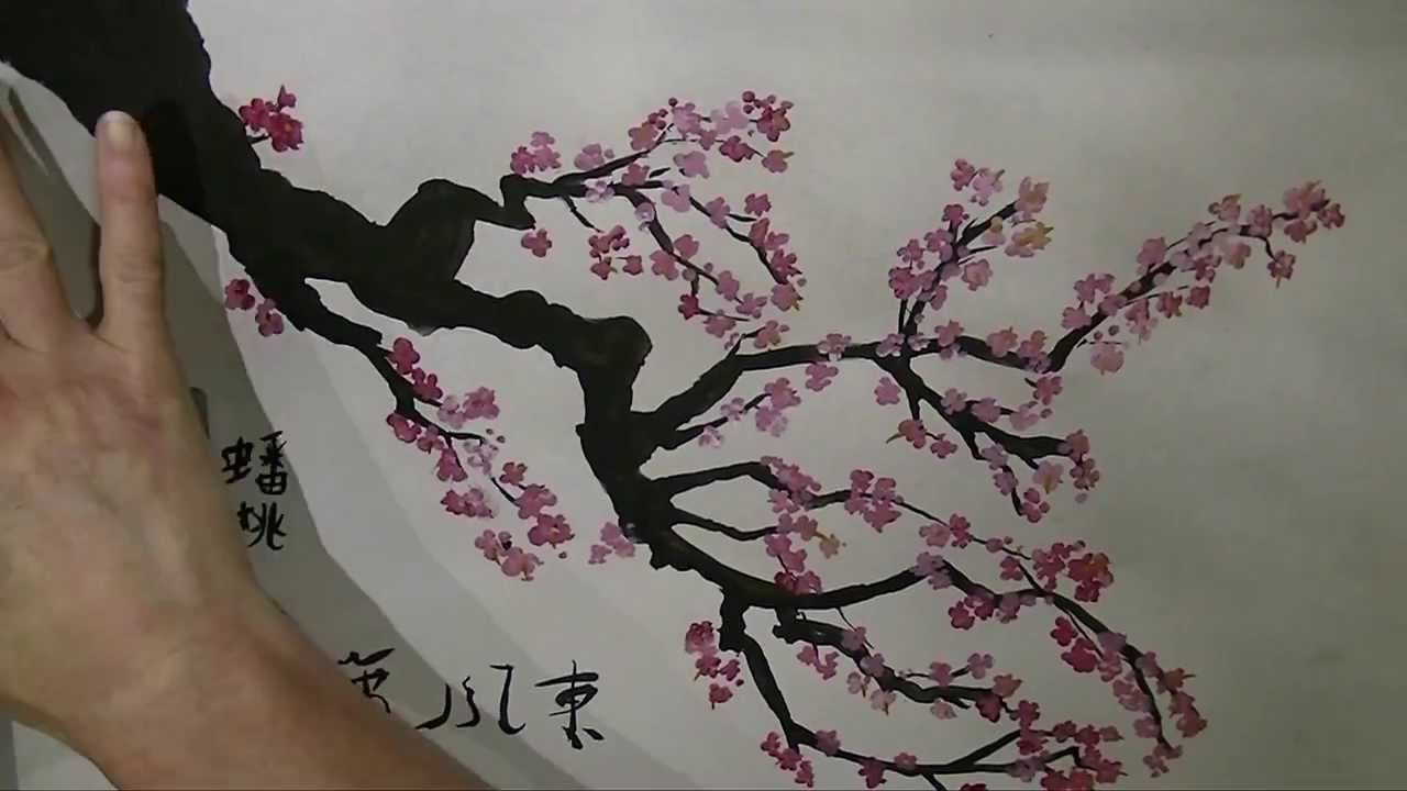 Cherry blossom brush painting doovi for Cherry blossom mural works