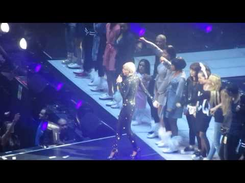 Miley Cyrus cries during Adore You - Stage Crew comforts her