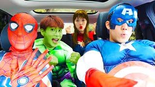 말이야와 친구들은 슈퍼히어로 변신 해 드라이브 하기 Superheroes ride on car and Help Friends | 말이야와아이들 MariAndKids