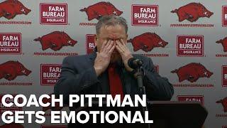 Sam Pittman gets emotional as new Razorback head coach