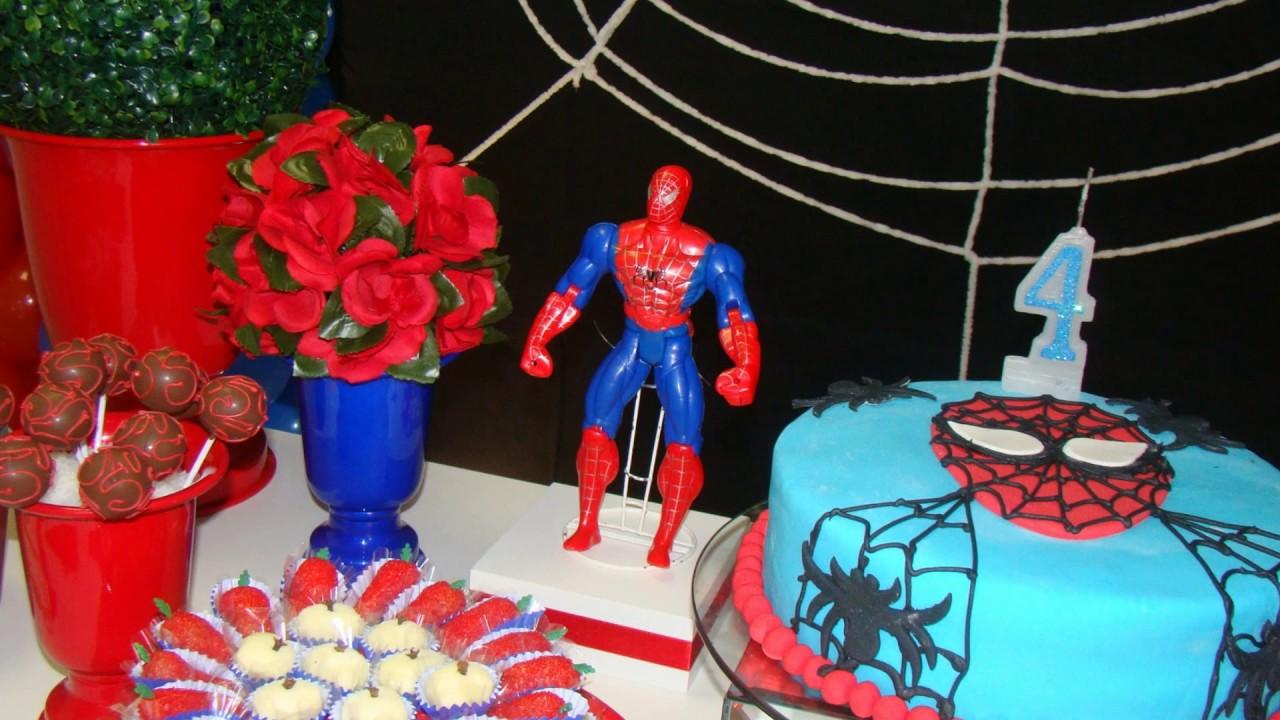 Decoraç u00e3o de Festa Homem Aranha para meninas Infanteen Decoraç u00e3o de Festas YouTube -> Decoração De Festa Simples Homem Aranha