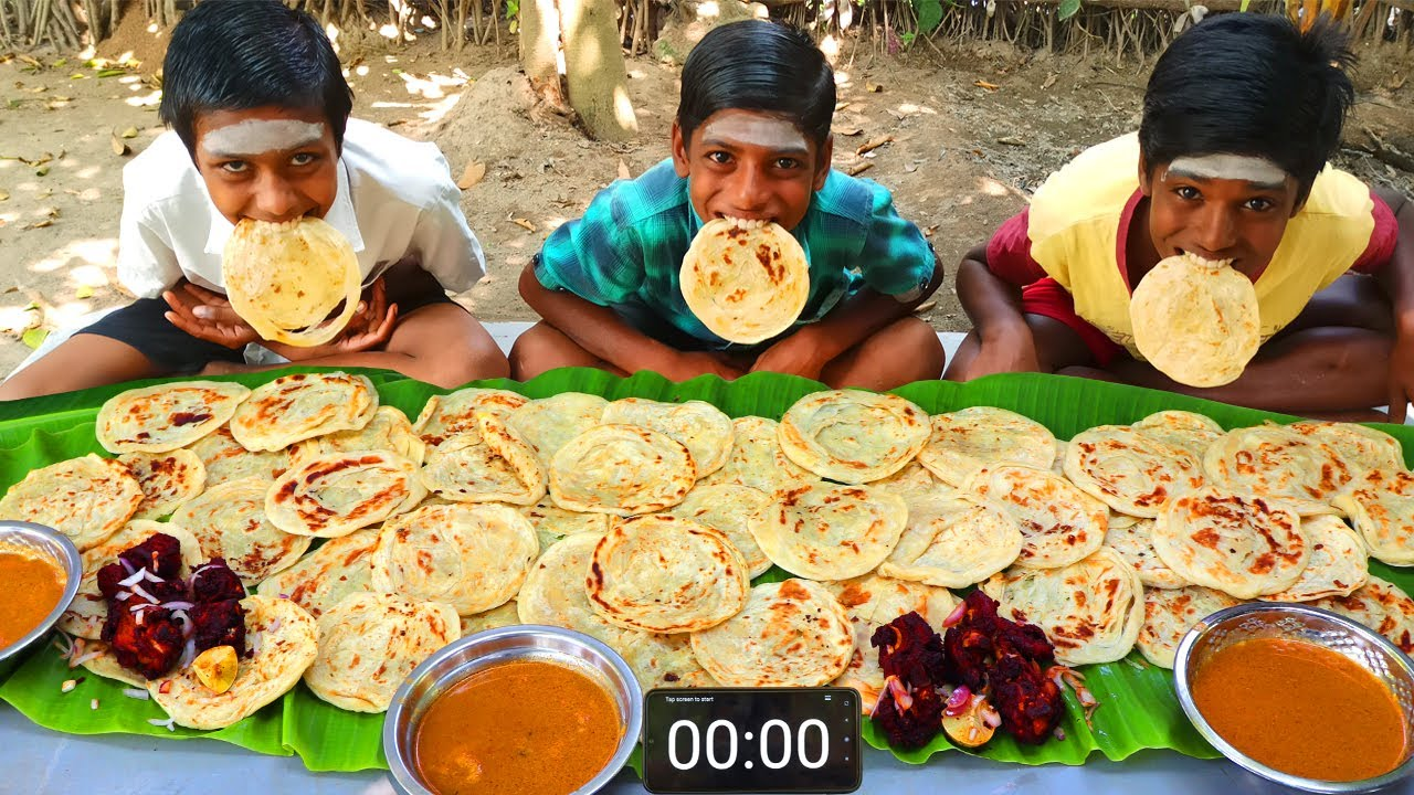 50 PAROTTA EATING CHALLENGE | CHICKEN 65 AND PAROTTA EATING COMPETITION | STREET FOOD EATING