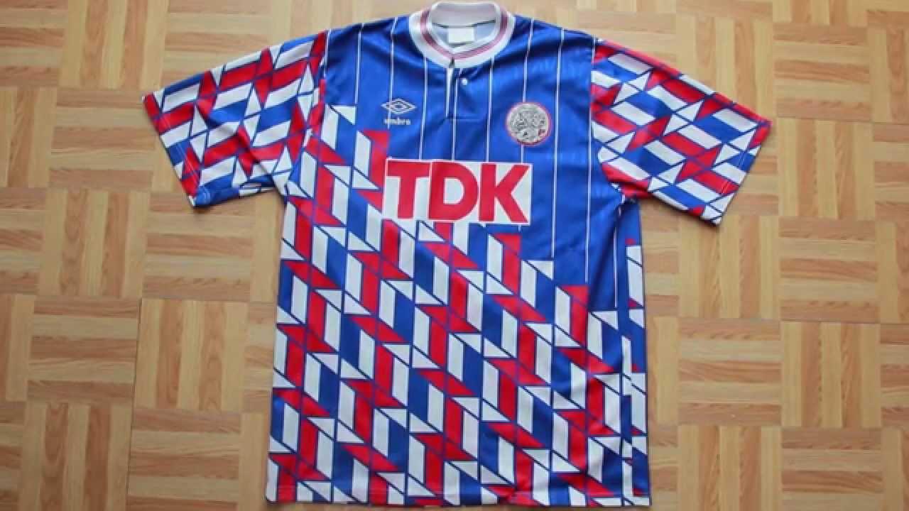 a85e1537a73 AJAX 1989 1990 AWAY FOOTBALL SHIRT TDK UMBRO - YouTube