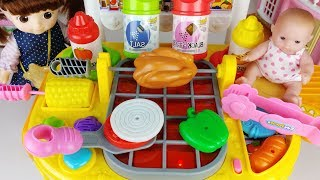 Baby doll Hamburger cooking toys and food kitchen play house - 토이몽