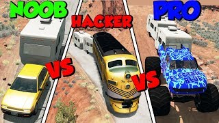NOOB vs PRO vs HACKER #11 - BeamNG Drive (Crashes & Stunts)