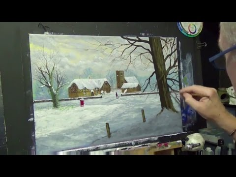 Winter Village | Acrylic painting for beginners | Acrylic painting