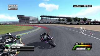 Online lobby race on motogp13 at Le Mans, France on xbox 360.
