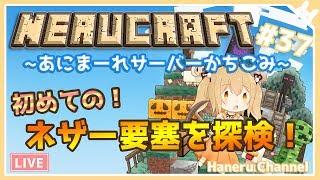 [LIVE] 【Minecraft】初めてのネザー要塞を探検!【因幡はねる / あにまーれ】