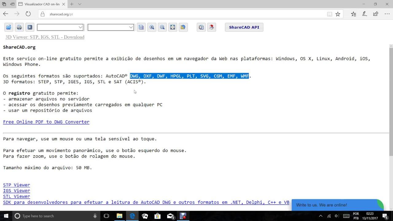 Visualizador de arquivos AutoCad Online