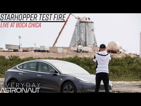 "Live at SpaceX's ""StarHopper"" (First Test)"
