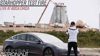 """Live at SpaceX's """"StarHopper"""" (No Ignition, but successful test)"""