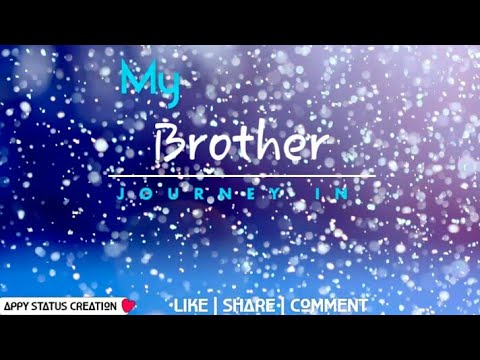 |💖| MY BRotHer👦 JoUrneY | Love 💞whats App Status▶ Video | Appy😀 Status ↖Creation |