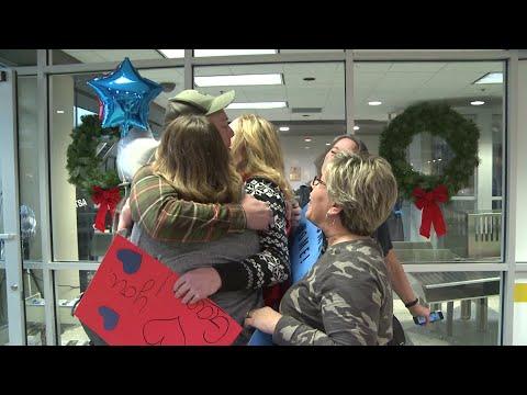 Marine reunites with family three days before Christmas