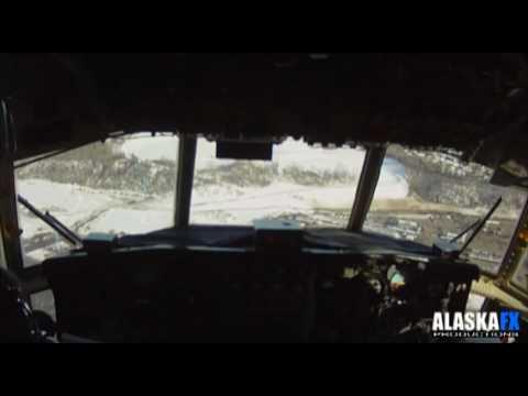 Coast Guard HC-130 Hercules takeoff from Barrow Alaska and landing in Anchorage