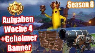 Schieße dich mit der Kanone durch ... | Alle Aufgaben | Geheimer Banner | Fortnite Season 8 Woche 4