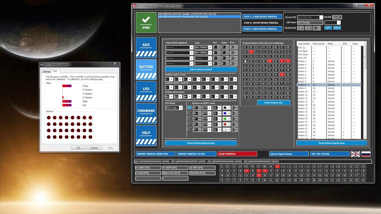 Using Virpil VPC configuration software