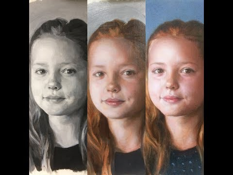 1 of 3, Glazing, grisaille technique, real time, portrait painting demonstration