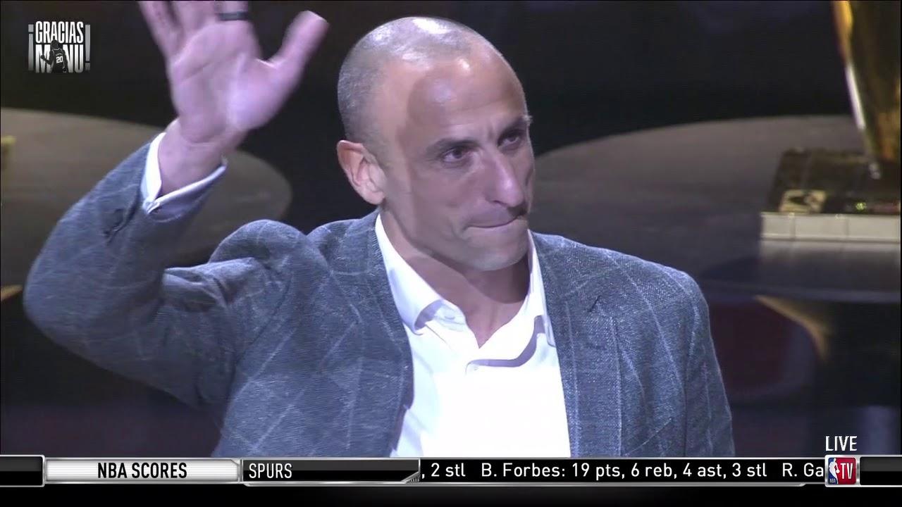 San Antonio Spurs Hang Manu Ginobili's Jersey In The Rafters
