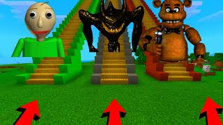 Minecraft PE : DO NOT GO UP THE WRONG STAIRCASE! ( Beast Bendy, Baldi, & Freddy Fazbear )