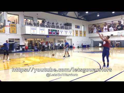 """Durant, Steph Curry doing shooting drills together w/ Coach """"Q"""" (Bruce Fraser) at Warriors practice"""