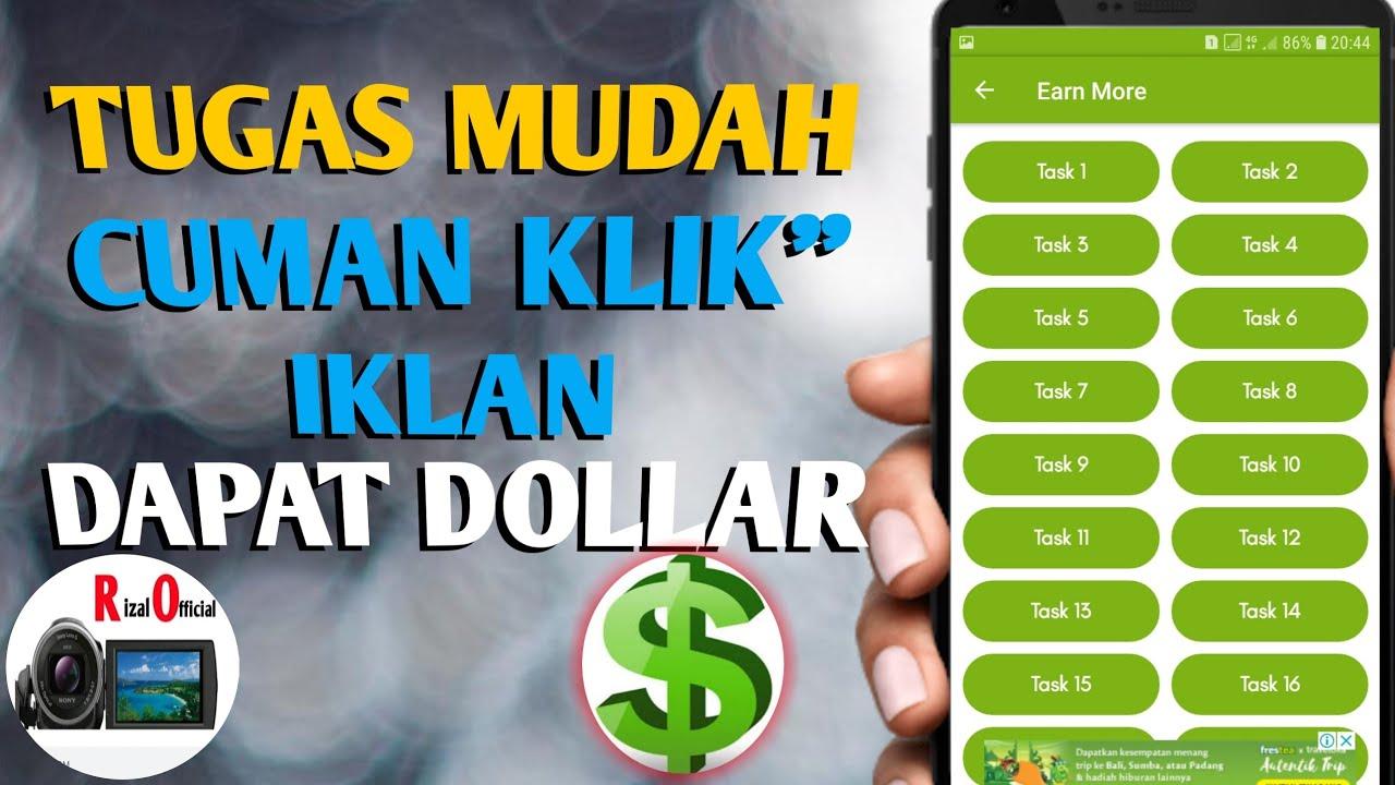Tugas Mudah Cuma Klik Iklan Dapat Dollar Aplikasi Penghasil Dollar Youtube