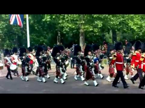 scots guards pipes and drums march down the mall trooping the color 2011